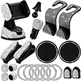 Car Accessories for Women, Bling Car Accessories Set, Bling Car Phone Holder Mount, Bling Dual USB Car Charger, Car coasters, Bling Auto Hooks, Bling Glasses Holders (White)