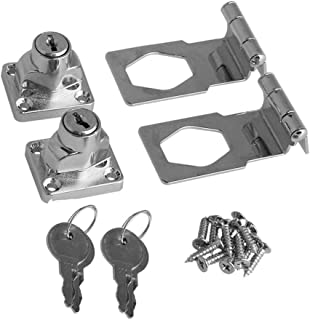 BTMB 2.5 Inch Keyed Hasp Lock 90 Degrees Safety Guard Twist Knob Lock Latch for Doors Cabinets Pack of 2,Keyed Alike