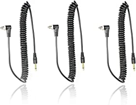 Foto&Tech 3.5 mm to Male Flash PC Sync Cable 14-Inch Coiled Cord with Screw Lock Suitable for Nikon, Canon, and Most DSLR Cameras Pocketwizard Miniphone PC1 with Foto&Tech Velvet Bag (3 PCS)