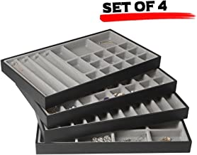 JackCubeDesign Stackable Leather Jewelry Tray Earring Necklace Bracelet Ring Organizer Display Storage Box(Set of 4, Black, 16 x 9.6 x 1.6 inches)-MK212-1ABCD