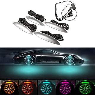 Auto Innenbeleuchtung Musik RGB Car Interior Multicolor 12LED Atmosph/äre Licht Streifen Kit mit Wireless App Control Fernbedienung Sound Funktion,USB KFZ-Ladeger/ät HELEVIA Auto LED Streifen