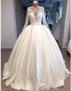 QING XIN-1225 Abiti da Sposa Abito a Maniche Lunghe Banchetto Abito da Sposa Nuovo V-Collo Lungo Dubai Arabian Abito da Sp...