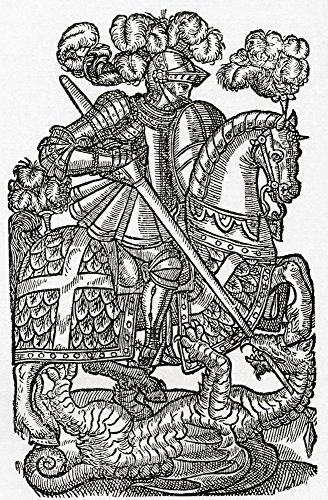The Red Cross Knight, St. George And The Dragon, From Faerie Queen, Third Edition, 1598. From The Book Short History Of The English People By J.R. Green, Published London 1893 Poster Print (22 x 36)