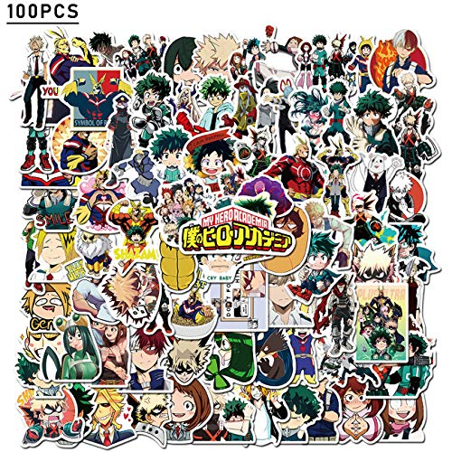My Hero Academia Sticker 100pcs Cool Anime Stickers for Computers Laptop Skateboard Stickers for Kids Teens Adults Laptop Skateboard Guitar Luggage Vinyl Decal Stickers Packs