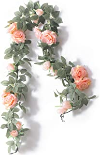 PARTY JOY Flower Garland Fake Rose Vine Artificial Flowers Hanging Rose Ivy Hanging..