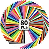 SGHUO 80pcs Permanent Adhesive Vinyl Bundle, 75 Assorted Colors Vinyl Sheets 12' x 12' with 5 Transfer Tape Sheets for Deco Sticker, Signs and Craft Cutters