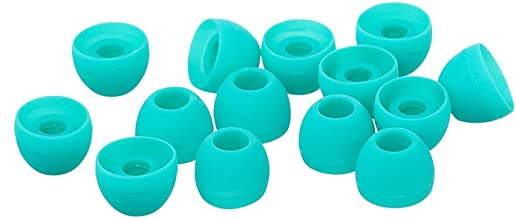 Xcessor Replacement Silicone Earbuds 7 Pairs (Set of 14 Pieces). Compatible with Most in Ear Headphone Brands (L, Turquoise)