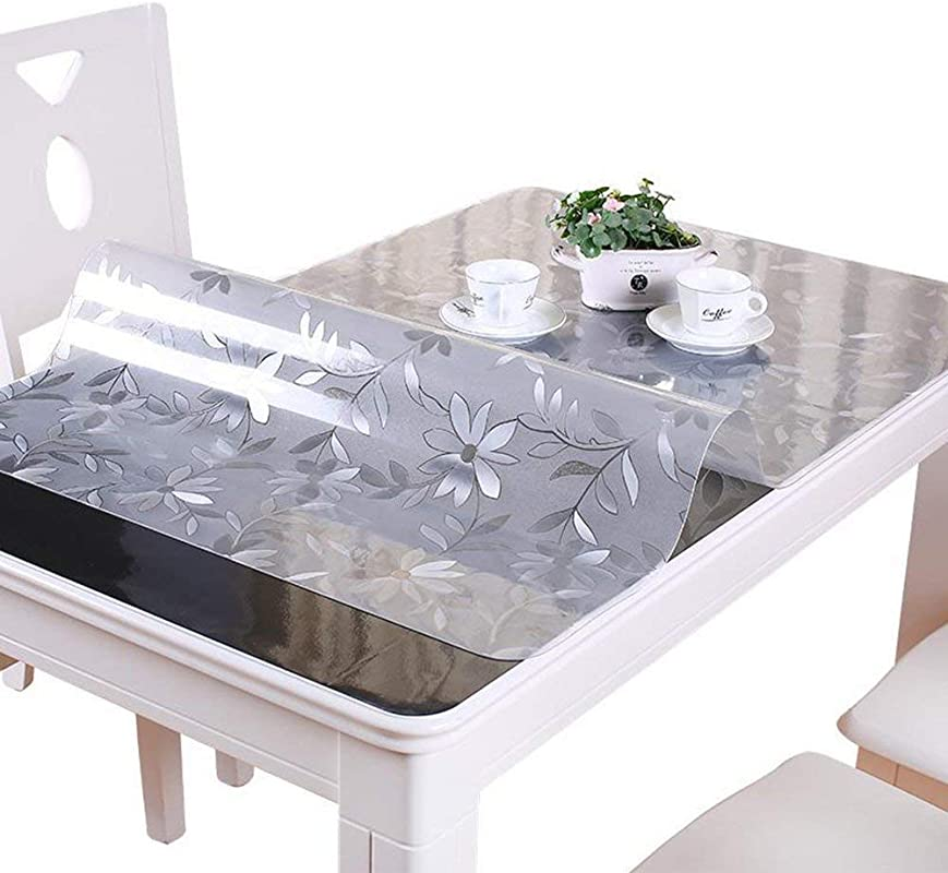 RayBoard PVC Clear Table Pad Cover Table Protector Desk Pads Mats Floral Transparent Waterproof Soft Glass Thick With 1 5 Mm Thicken Design For Home Dining Kitchen Rectangular 23 6 48inches