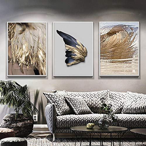 Stile Moderno Art Wall Golden Feather Sea Set Canvas Painting Poster e Stampa per Soggiorno Camera da Letto Home Decor-40x60cmx3 Pezzi Senza Cornice