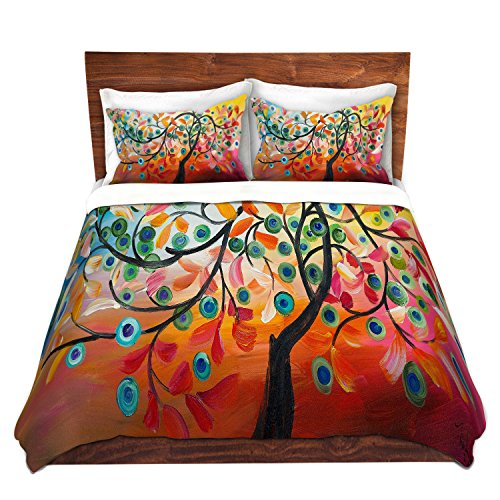 DiaNoche Designs Colorful Tree Vlll Cover Brushed Twill Twin King Sets, 3 Queen/Full Duvet Only 88' x 88'