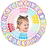 MELLIEX 150 Piezas Bebé Accesorios Pelo, 3cm Pinzas de Pelo a Presión de Metal Multicolor Mini Horquillas Pelo Gomas Pelo para Bebe Niña Chica