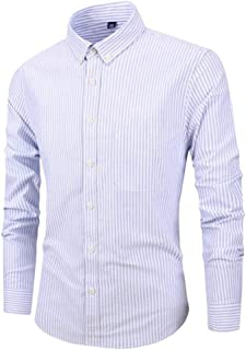 Men's Shirt Slim Long Sleeve Business Striped Shirt Cotton Oxford Satin Shirt Clothing Suit Professional Formal Meeting Wedding Daily (Color : Blue, Size : XL)
