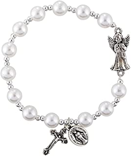 Religious Jewelry Guardian Angel White Bead Charm Rosary Bracelet, 7 1/2 Inch