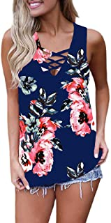 Feiersi Women's Summer Sleeveless Criss Cross Casual Tank...