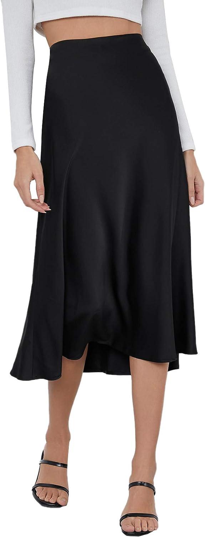 SheIn Women's High Waist A Line Skirts Solid Zipper Up Flared Midi Skirt
