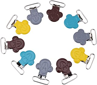 10PCs/Lot 25mm Mini Monkey Shape Stainless Steel Suspender Pacifier Braces Clip Holder for DIY Making Leather Craft - Multicolor