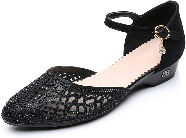 DANNV Mesh Sandalen Strass Spitzen Schuhe Flache Schuhe Weiche Unterseite Schaufel Schuhe Bequeme Freizeitschuhe schwarz-39(245mm)