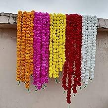 Worldoftextile Assorted 10 Pieces Of Flower Strings Torans Flower Garland Lines Marigold Mango Flower Strings Artificial Blossom Indian Partydecore Mix