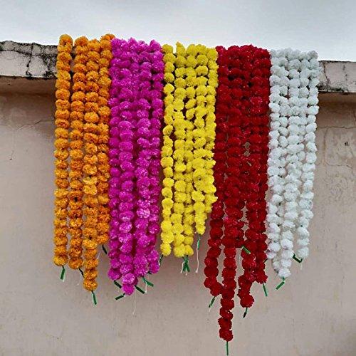 Worldoftextile Sortierte 10 Stück Blumenstränge Torans Blumengirlande Linien Ringelblume Mango Blumen Strings künstliche Blüten indische Party Deko Mix