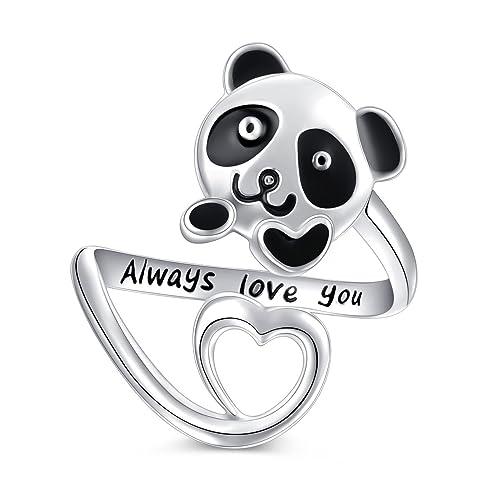 5caa347c12afc Sterling Silver Forever Love Cute Animal Panda Bear Koala Bear Pendant  Necklace Ring for Women Teen