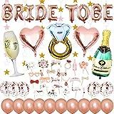 JGA - Globos decorativos para despedida de soltero, juego de decoración con pancarta, globos de confeti, globos de látex, botella de champán y anillo, globos de corazón