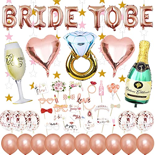 Decorazione per addio al celibato, con palloncini, coriandoli in lattice, bottiglia di spumante e anello, a forma di cuore