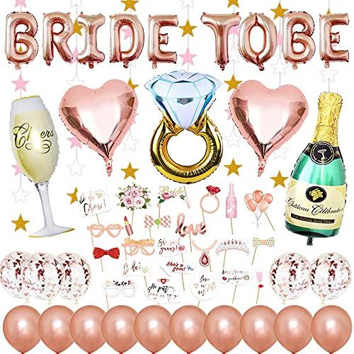 Braut to Be Deko,JGA Deko Luftballons Rosegold,Junggesellenabschied Deko Set mit Banner Folienballons,Konfetti Ballons,Latex Luftballons,Sektflasche und Ring,Herz...