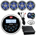 "Marine System: Boss Bluetooth Receiver, 4 x Water-Resistant Speakers (Charcoal), 4-Channel Amplifier, 50Ft Speaker Wire, Radio Antenna - 22"", USB Aux Interface Mount"