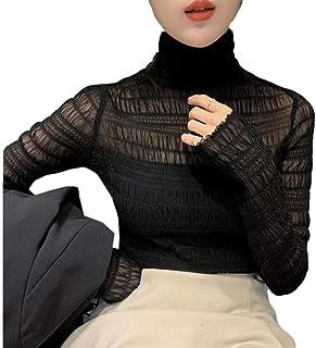 GUOCAI Womens Mesh Slim Fit Long Sleeve Tops Turtleneck Blouse T Shirts