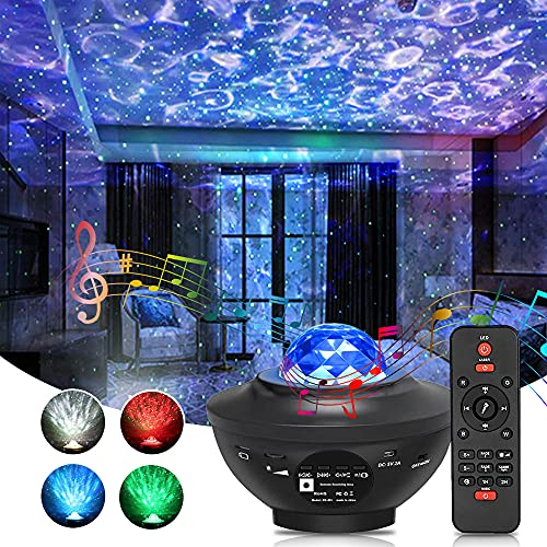 Star Projector Galaxy Projector Night Light with LED Nebula and 10 Lighting Modes Bluetooth Speaker Remote Control for Bedroom or Party Decor Gift for Kids, Adults(Black)