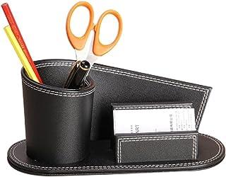 Pot Carré à Crayons Bureau en PU Cuir Multifonctionnel Boîte/Panier de Rangement Cosmétique Maquillage Stockage Cartes de ...