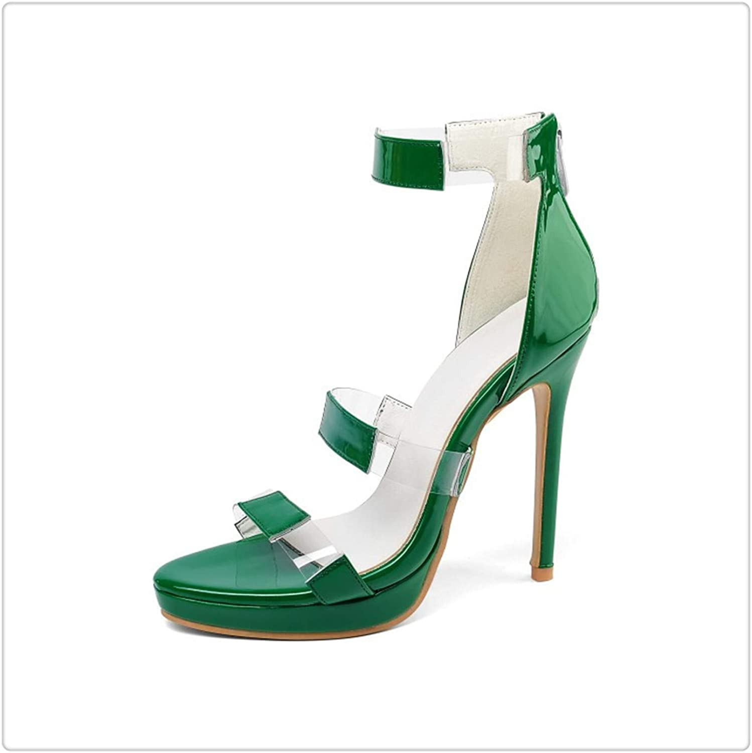 ZXCVB& High Heel Sandals Women Open Toe Ankle Warp Back Zip Patent Leather Party shoes