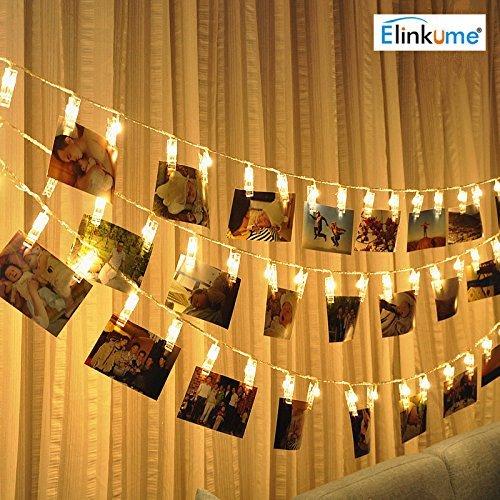 ELINKUME LED Foto Clip Lichterkette, 20 Foto-Clips, 2,2 Meter/7,21 Füße, warmweiß, batteriebetrieben, ideal für hängende Bilder, Notizen, Artwork, Memos