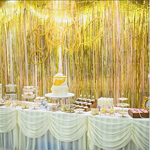 squarex Rose Gold Tür Vorhang Fransen Girlanden Alle Farben & Packungen Folie Vorhänge, 2x 1Meter, Voile, Gold, Size:2X1m