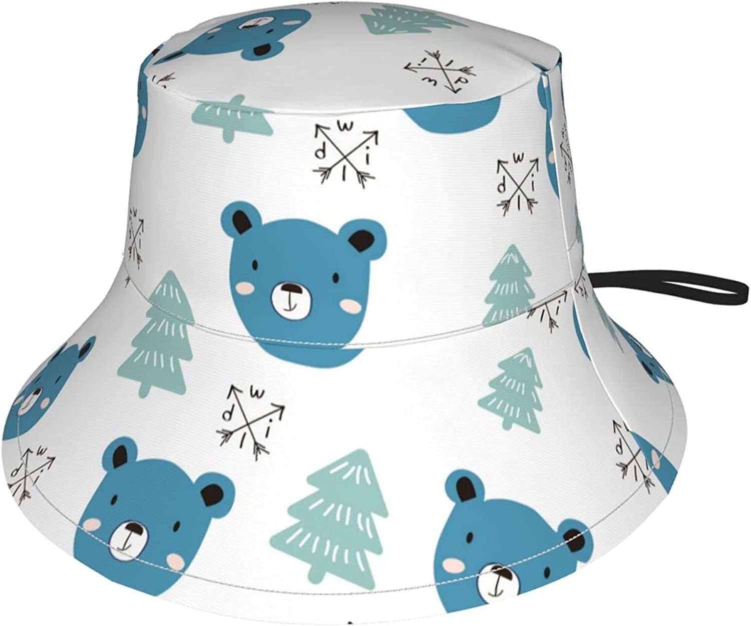 specialty shop Jeezshop Bucket Hat with Blue Bear Sun Tree Print and Genuine Free Shipping