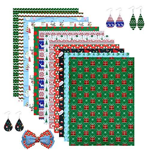 12 Pcs Christmas PU Faux Leather Sheet +100 Pcs Earring Hooks + 100 Pcs Jump Rings + 20 Pcs Hair Clips for Earrings Bows Crafts Making