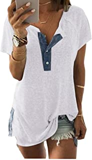 Womens Loose Casual Short Sleeve Tops and Blouses Button Up Tee Shirts