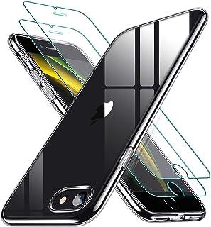 ESR Funda para iPhone SE 2020/8/7 + 2 Protector de Pantalla [Tapa Trasera 1,1mm Grosor] [2 Protectores de Pantalla Incluidos] [Esquinas con Cámaras de Aire] Funda Transparente para iPhone SE /8/7