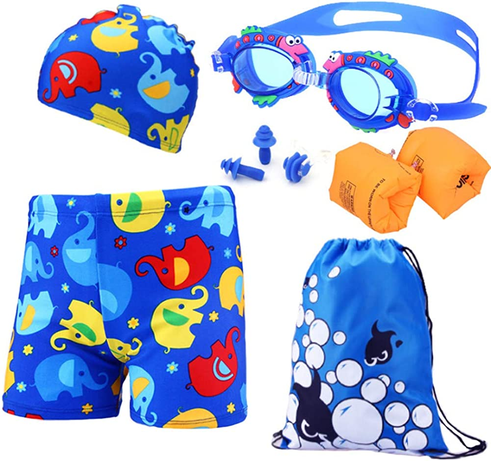 Monvecle Boys' 7-Pieces Swim Shorts Sets Rash Guard Swimsuit Beach Boxers Set with Swim Cap Floatation Sleeves UPF 50+