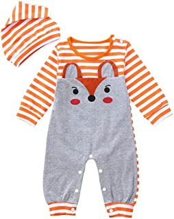 Pumsun ❤️ Infant Baby Girls Boys Long Sleeve Fox Print Romper Jumpsuit Stripe Hat Outfits