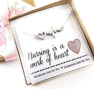 Nursing is a Work of Heart Necklace - Heart Rhythm Charm - Nurse Necklace - Heartbeat Jewelry