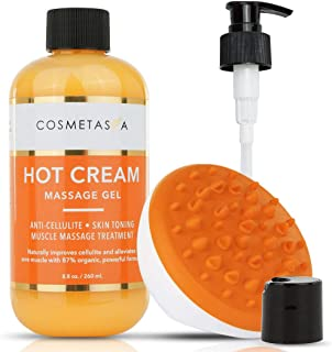 Hot Cream Massage Gel with- Cellulite Massager 8.8 oz:: Anti- Cellulite, Skin Tightening, Toning & Muscle and Joint Pain Relief Jelly 100% Natural, 87% Organic, Cruelty Free
