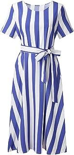 WEISUN Women Vintage Boho Dress Summer Sleeve Beach Printed Dress Lace Up Short Mini Dress Sale Today