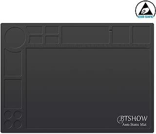 BTSHOW Antistatic Mat ESD Soldering Mat Heat Resistant 932°F Desktop Static Dissipative Silicone Mat Dustproof for Electronics/Laptop Repair,13.8