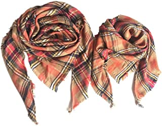 GWXFDZ® Autumn And Winter Plaid Cashmere Scarf Variety Of Choice Matching Triangle Shawl Scarf Men'S Ladies Boys Girls Chi...