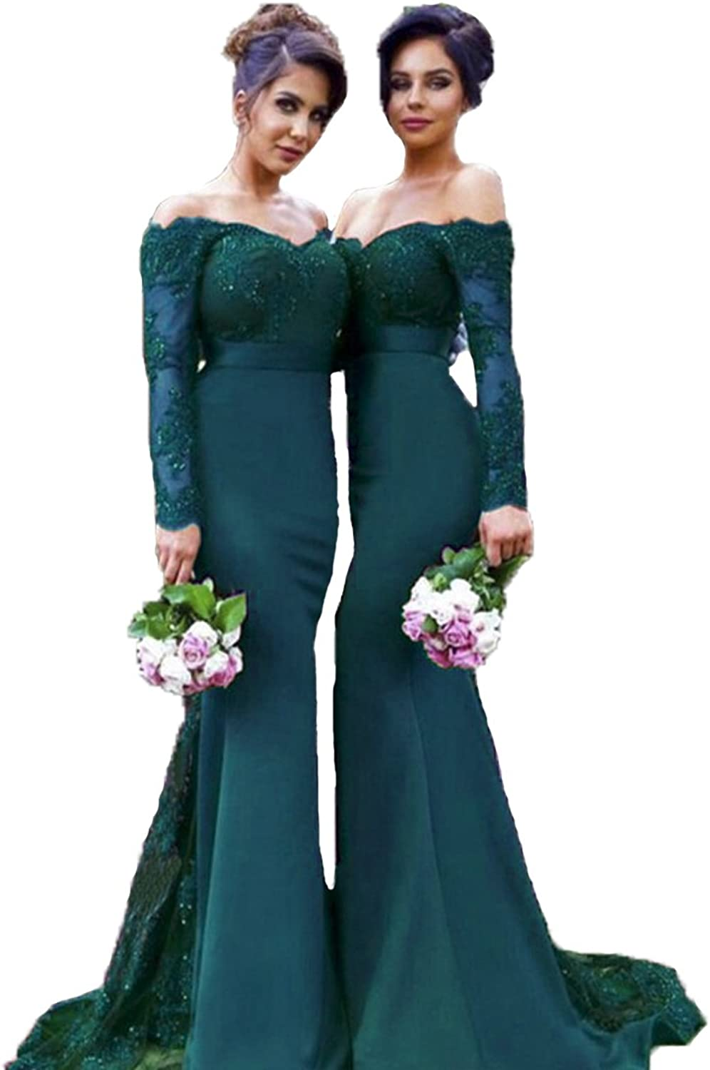 XingMeng Off The Shoulder Mermaid Prom Gown Long Lace Sleeve Bridesmaid Dresses