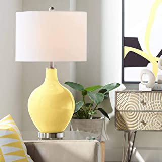 Modern Table Lamp Daffodil Yellow Glass OVO White Linen Drum Shade for Living Room Family Bedroom Bedside Nightstand - Color + Plus