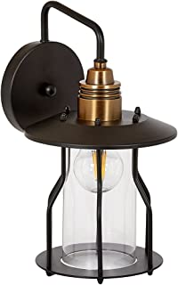 Vintage Wire Caged Glass Outdoor Wall Sconce Light   Exposed Rustic Commercial Design   Antique Bronze Industrial Finish Screw Cage with LED Edison Bulb 2700K Included