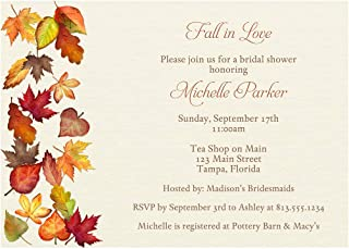 Fall Bridal Shower Invitations Autumn Wedding Invites Leaves Brown Gold Yellow Red Falling for Autumn Personalized Cards (10 Count)