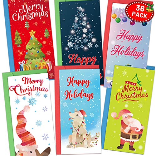36 Christmas Money Card Holders Watercolor Greeting Cards with Envelopes Blank Note Cards office School Home